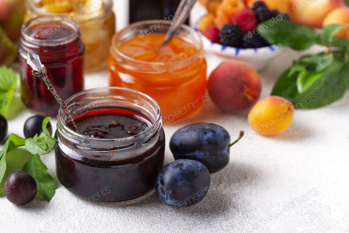 Assortment of different jams in jars