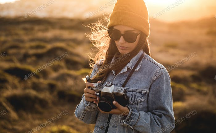Woman Taking Picture Outdoors