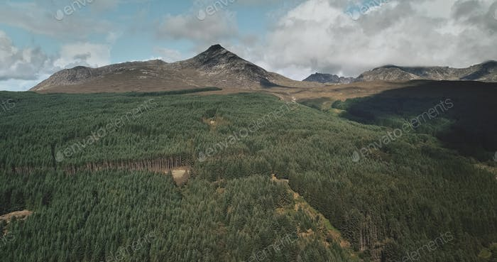 Scotland Mountains landscape aerial wide shot: Goatfell with for