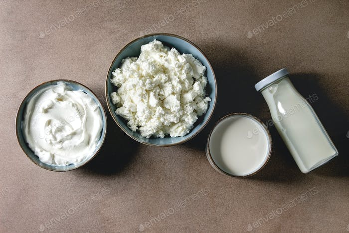 Set of dairy produce