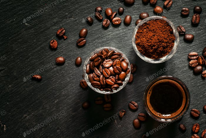 Food background: coffee beans, ground coffee, fresh espresso