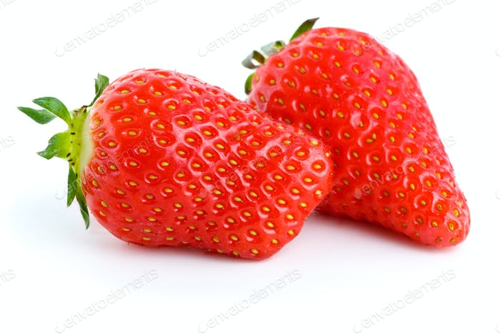Pair of ripe red strawberries