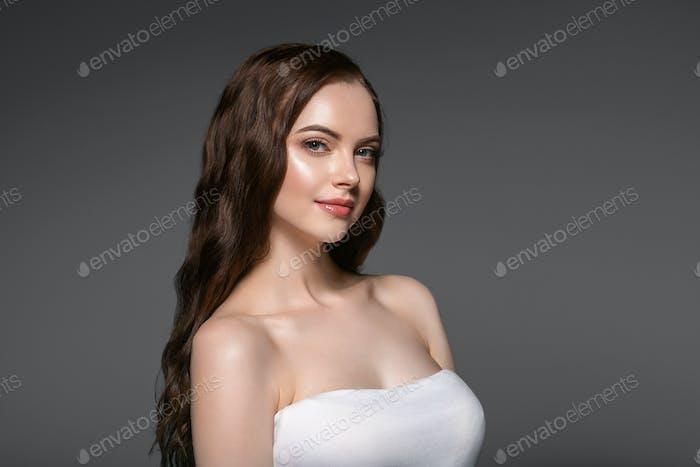 Beautiful hair skin woman beauty female portrait natural make up long hair