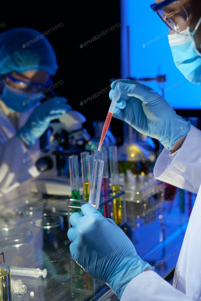 Laboratory technician working on vaccine