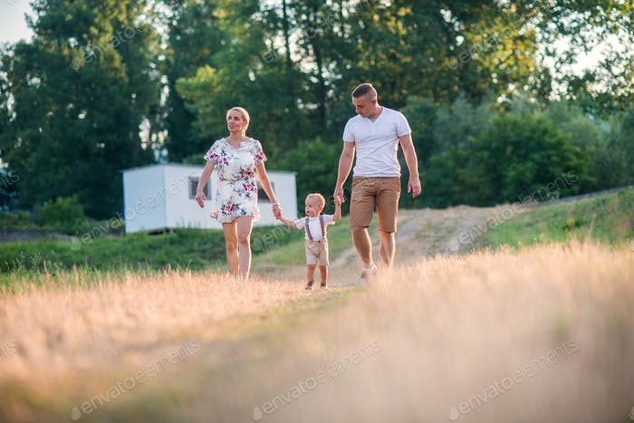Young family with a small toddler boy in sunny summer nature.