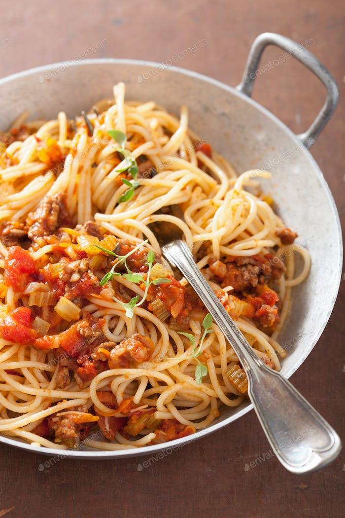 Kochen italienische Pasta Spaghetti Bolognese