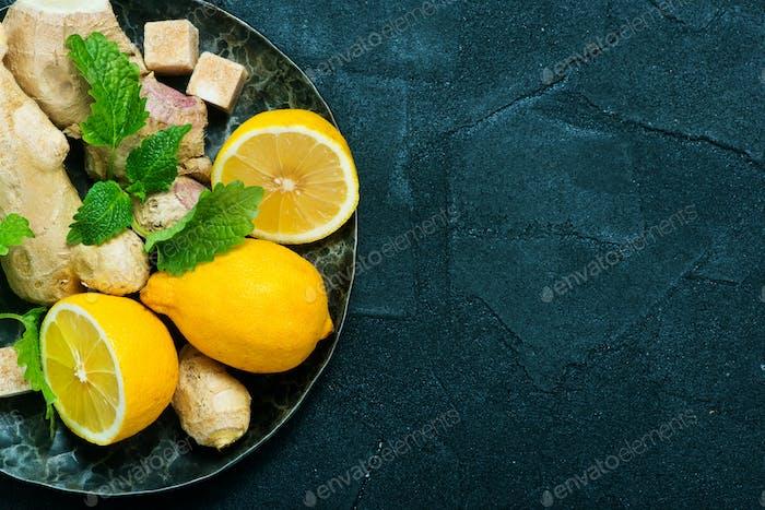 fresh ingredients for tea