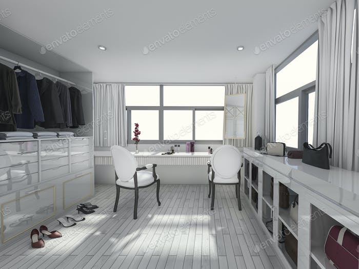 3d rendering living with nature and dressing room