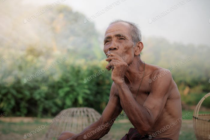Old man are smoking