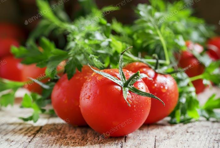 Nasse rote Tomaten, Kräuter, Nahaufnahme