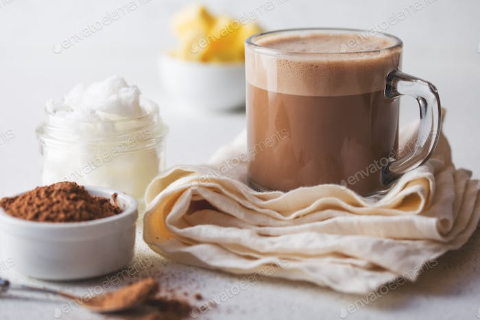 Bulletproof Cacao. Ketogenic Keto Diet Hot Drink. Cacao Blended with Coconut Oil and Butter