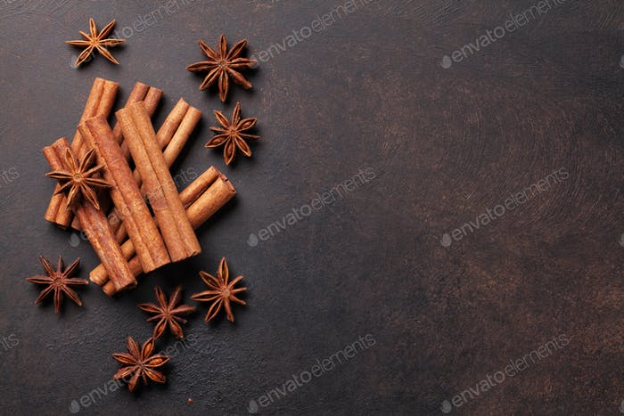Mulled wine ingredients spices. Anise and cinnamon