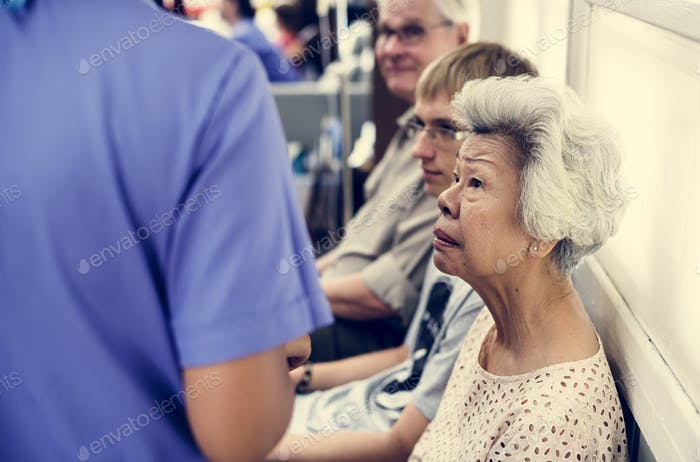 An elderly patient at the hospital