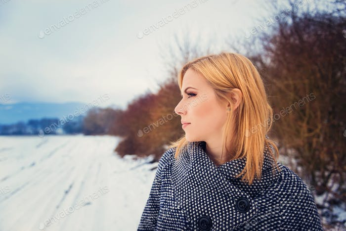 Woman in winter nature