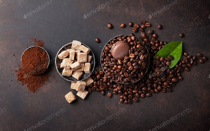 Coffee beans, ground powder and brown sugar