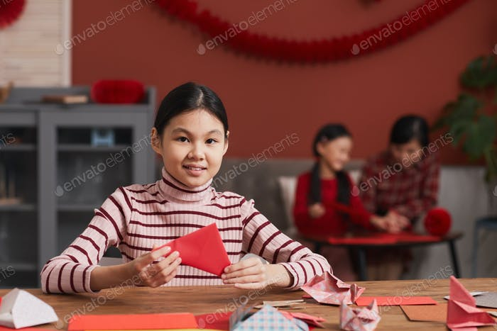 Asian Girl Doing Paper Craft