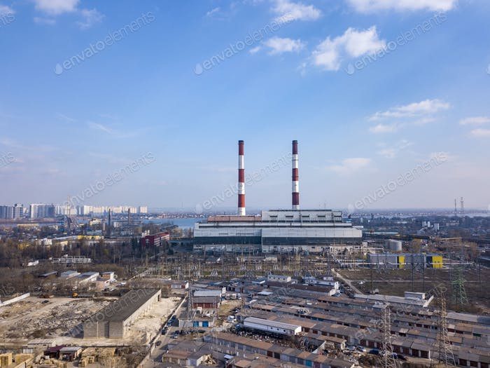 Aerial view from drone of industrial area in a city Kiev, Ukraine with Electric utility Company on a