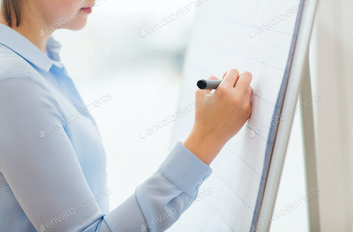 close up of woman writing something on flip chart