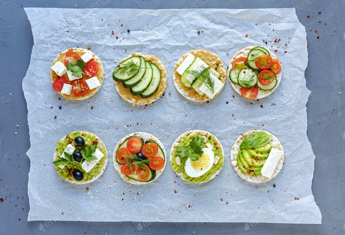 Assorted tasty appetizers with fresh vegetables