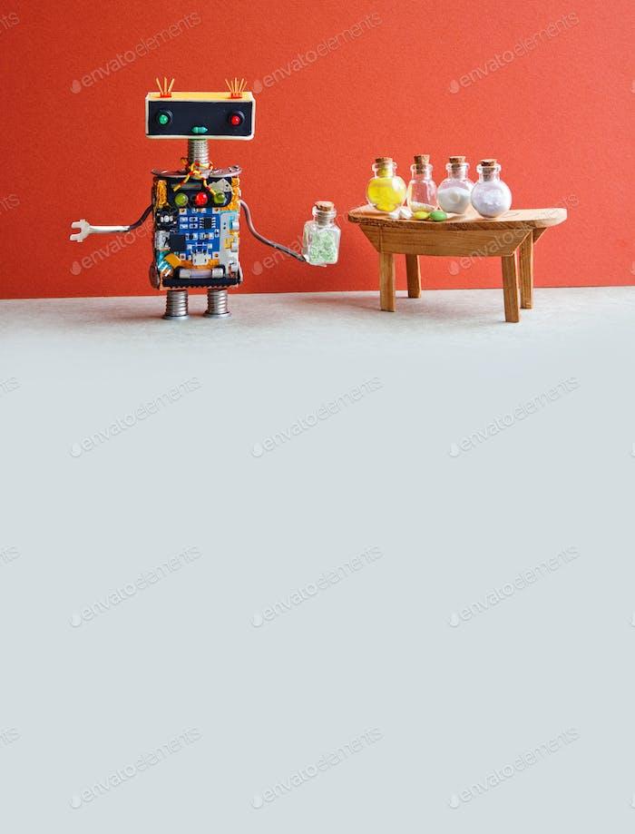 Roboter Medic Apotheker testet moderne Pillen und Antibiotika