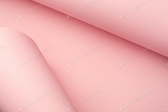 Pastel Pink Curved Paper Abstract Background.