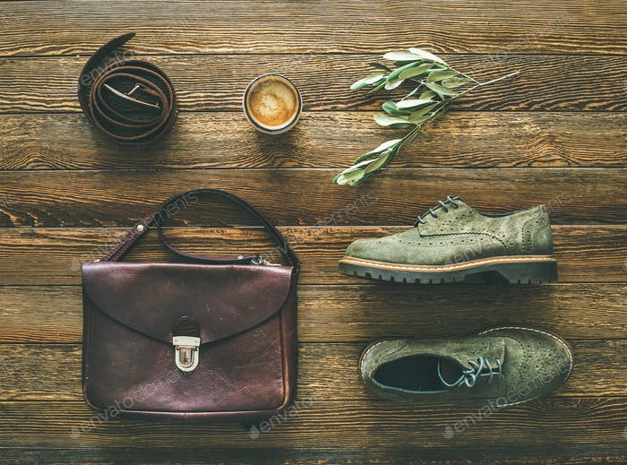 Flat-lay of woman's fall accessories and coffee, top view