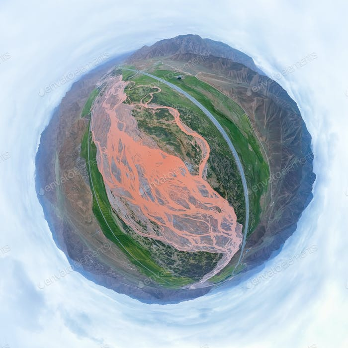 little planet image of xiangride river landscape