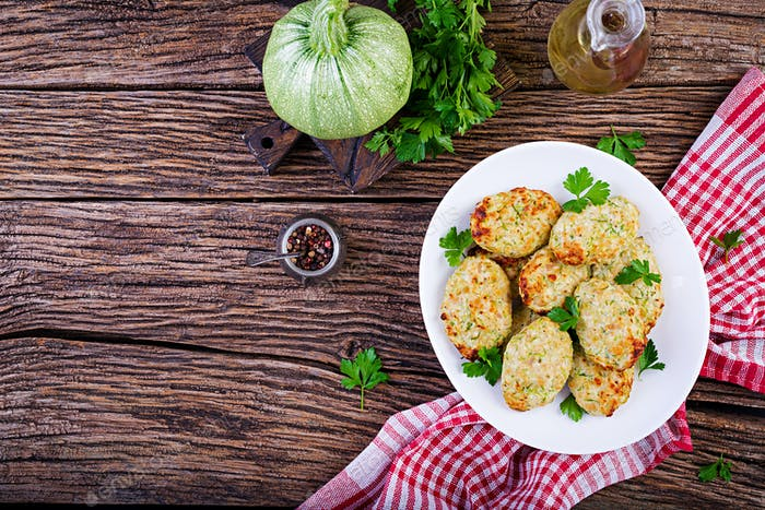 Chicken cutlet with zucchini. Healthy food. Top view