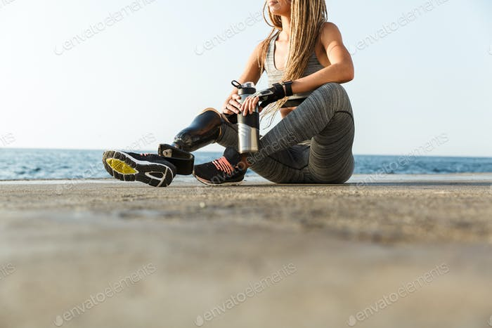 Cropped image of disabled athlete woman