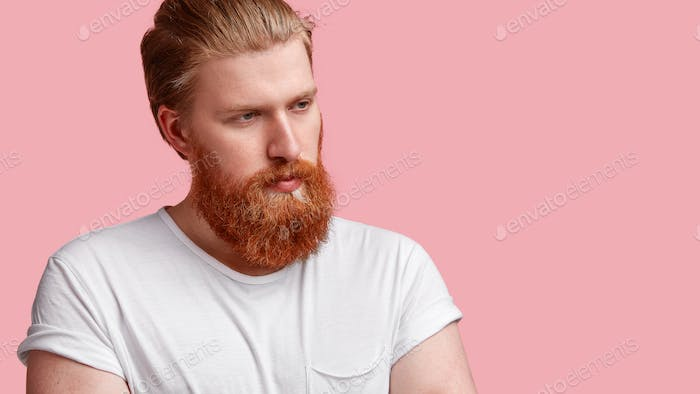 Portrait of serious hipster guy with foxy thick beard, wears casual t shirt, contemplates about some