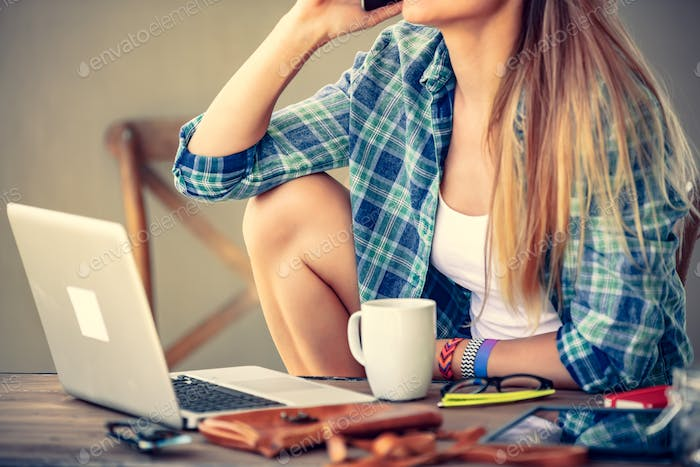 Student girl working at home