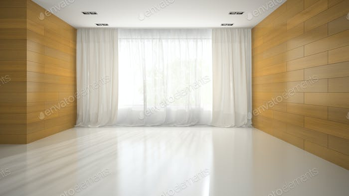 Empty room with wooden wall 3D rendering