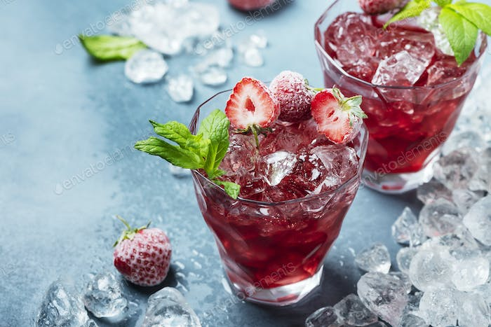 cocktail with frozen strawberry