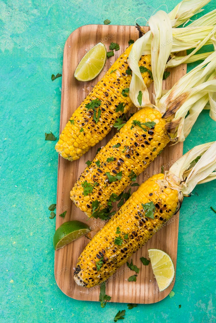 BBQ Grilled COrn on Cob with Lime and Coriander. Mexican Street