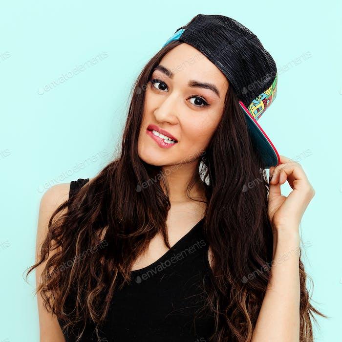 Teen Girl in fashion b-boy cap. Urban street style