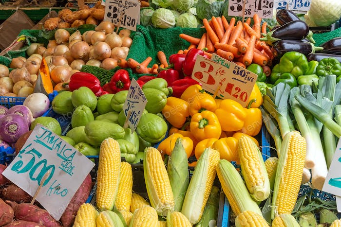 Corn, peppers and other vegetables for sale