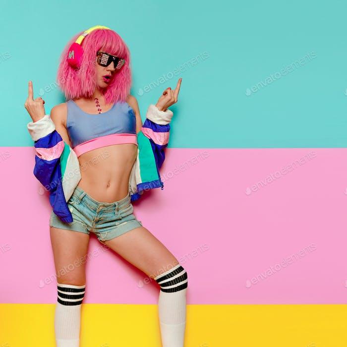 Girl sex DJ. Playful style. Minimal pop art Nightclubs party