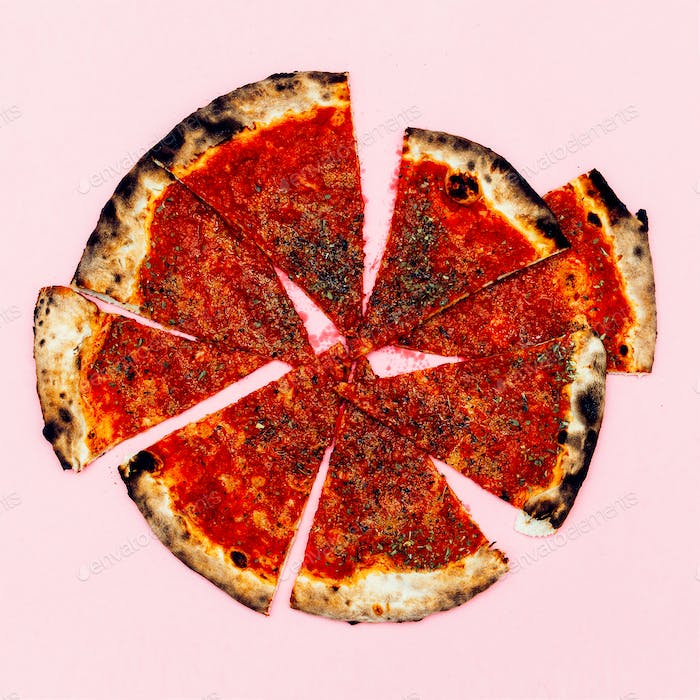 Pizza Art. Pizza lover.  Flat lay minimal