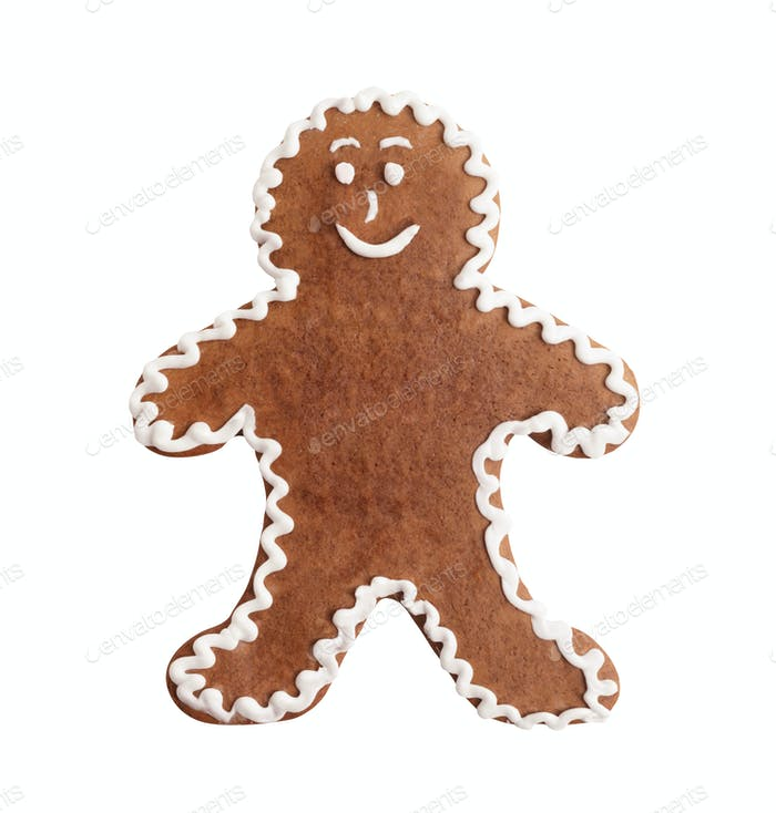 Gingerbread man, christmas cookie isolated on a white background