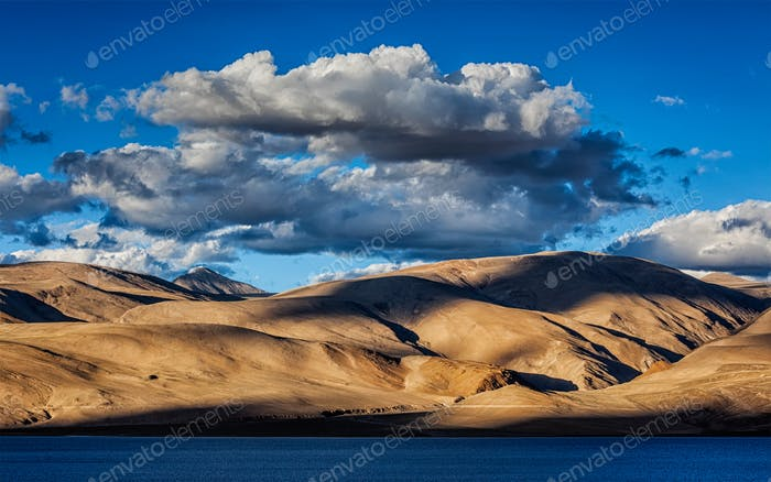Himalayas and Lake Tso Moriri on sunset, Ladakh