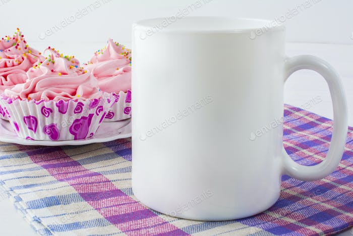 Coffee mug mockup with cupcakes