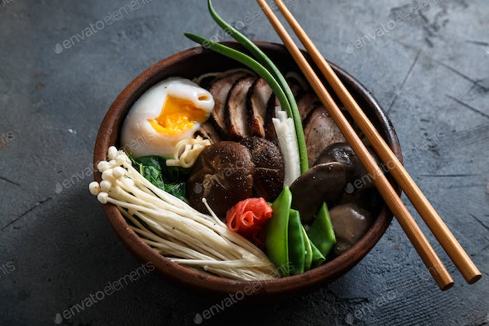 Asian Shiitake, Enoki, spring onions Mushroom egg Noodle or ramen