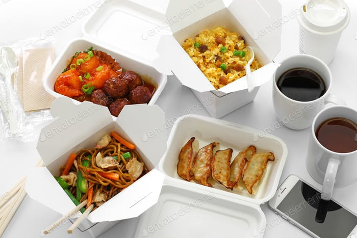 take out chinese food and smartphone