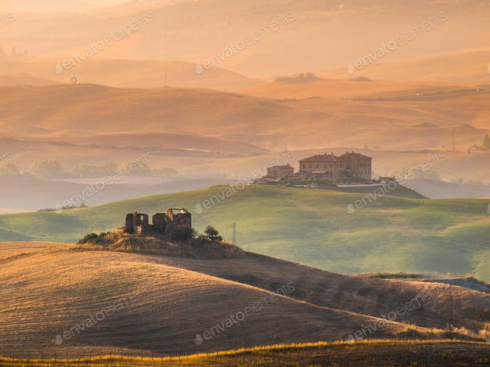 Tuscany Countryside with Hills and Villas