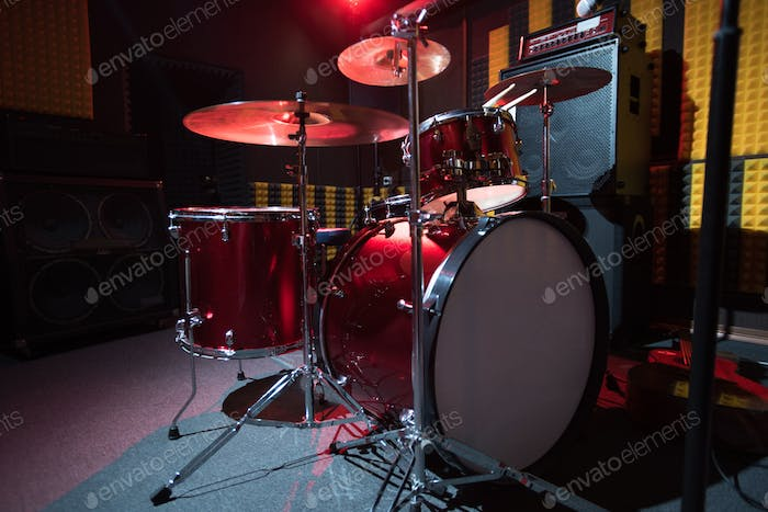 Modern Drum Set on Stage