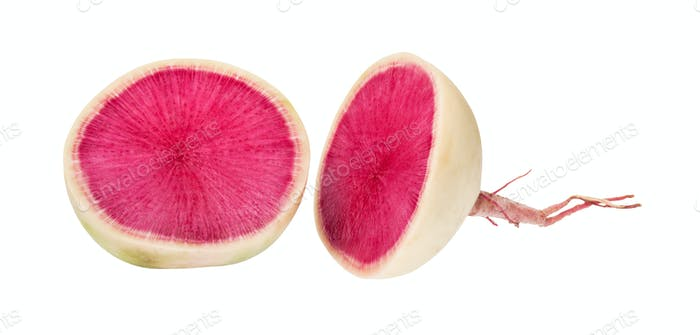 cut in half fresh watermelon radish isolated