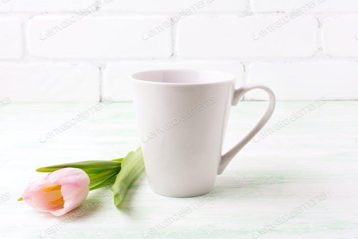White coffee latte mug mockup with  pink tulip