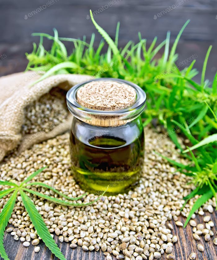 Oil hemp with seed on board
