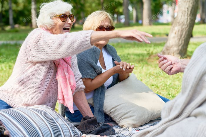 Happy Senior Friends Enjoying Picnic in Park