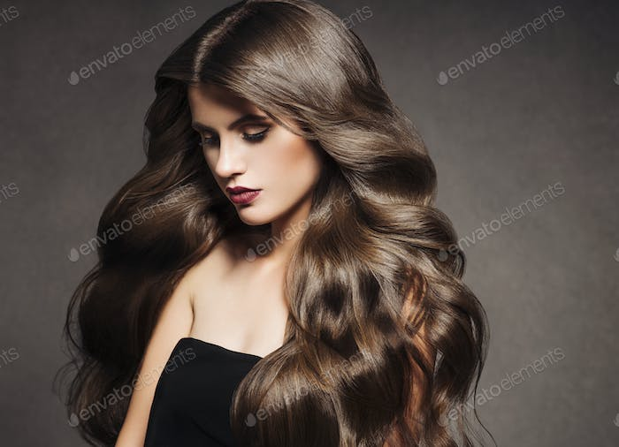 Beautiful hair brunette  woman healthy skin fashion make up natural hairstyle